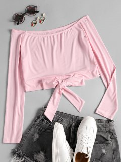 Off Shoulder Bowknot Hem Crop Tee - Pink M