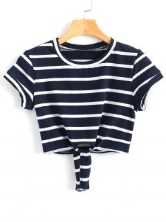 Cropped Tied Stripes Top - Purplish Blue M