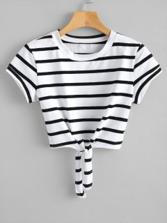 Cropped Tied Stripes Top - White S