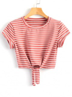 Cropped Tied Stripes Top - Bean Paste Color S