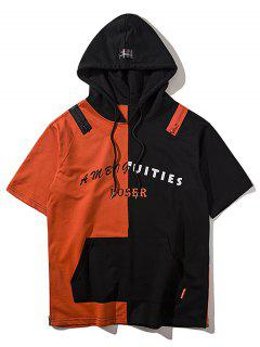 Zipper Hem Color Block Graphic Hoodie - Orange Red L