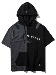Zipper Hem Color Block Graphic Hoodie - Gray L