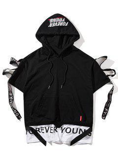 Streetwear Ribbon Short Sleeve Hoodie - Black L