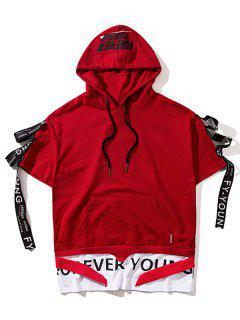 Streetwear Ribbon Short Sleeve Hoodie - Red L