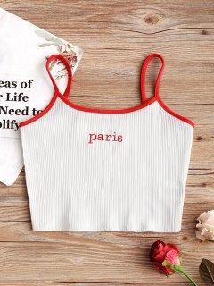 Camiseta Sin Mangas Bordada París - Blanco M