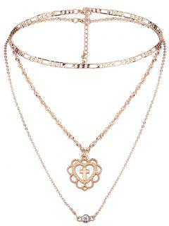 2Pcs Cross Pattern Multilayers Necklace Set - Golden
