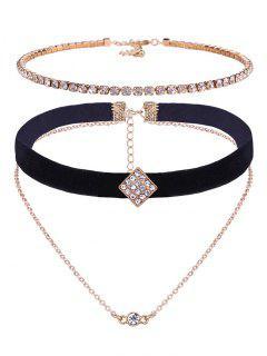 Conjunto De Collar De Clavícula Multicapa De Incrustación De Diamantes De Imitación único - Dorado
