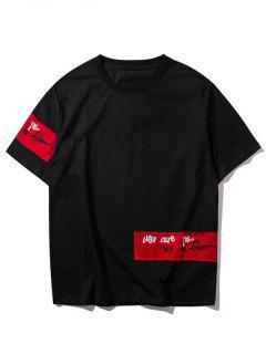 Hip Hop Patch Design Rock Tee - Black M