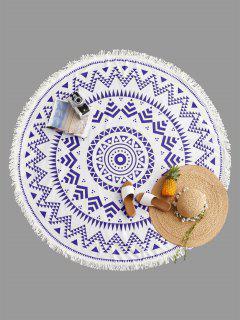 Geometrical Print Fringe Round Beach Blanket - Blue