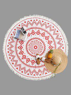 Geometrical Print Fringe Round Beach Blanket - Red