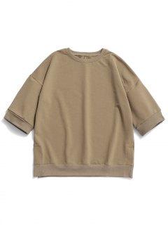 Half Sleeve Crew Neck Sweatshirt - Camel L