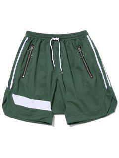 Zipper Pocket Drawstring Shorts - Green L