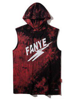 Ärmelloses Riemchen Färbung Hoodie T-Shirt  - Rot M