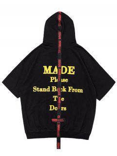 Streetwear Graphic Short Sleeve Hoodie - Black M