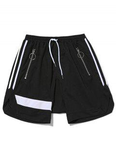 Zipper Pocket Drawstring Shorts - Black L
