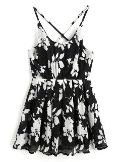 Crinkly Floral Print Cross Back Slip Dress - Black M