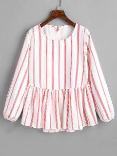 Rundkragen Striped Longline Bluse - Rot L