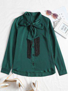 Blusa De Corbata Con Flecos De Manga Larga - Verde Negruzco L