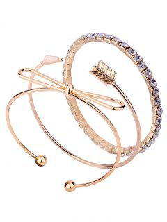3Pcs Bowknot Arrow Rhinestone Bracelet Set - Golden