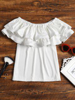 Schulterfrei Tiered Volant Bluse - Weiß S
