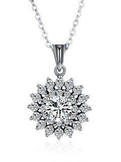 Collar De Girasol De Diamantes De Imitación De San Valentín - Plata