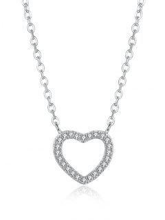 Collar De Corazón De Diamantes De Imitación De San Valentín - Plata