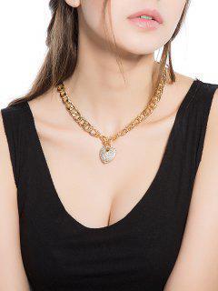 Collar De Metalline De Corazón De Durazno De Cristal De Imitación De Día De San Valentín - Plata