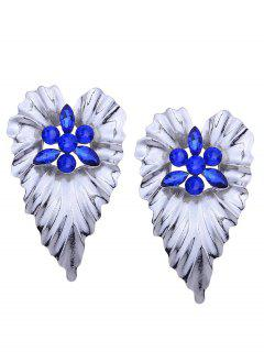 Rhinestone Alloy Heart Stud Earrings - Blue