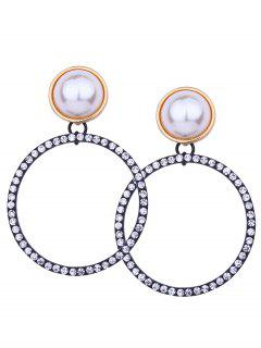 Sparkly Rhinestoned Faux Pearl Circle Earrings - White