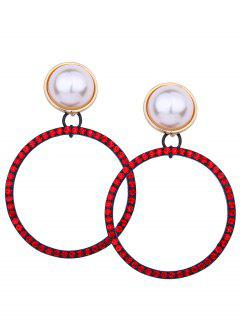 Boucles D'Oreilles Sparkly Rhinestoned Faux Pearl Circle - Rouge