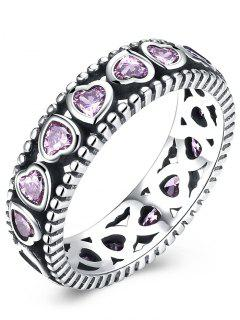 Artificial Amethyst Valentine Day Heart Silver Ring - Silver + Pink 8