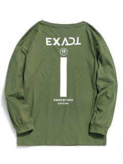 Camiseta De Manga Completa Gráfica Exacta - Ejercito Verde S