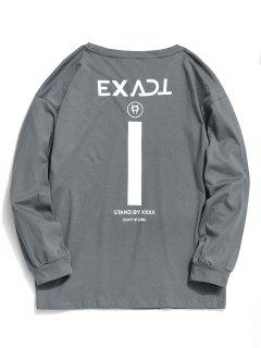 Exaktes Grafik-Full-Sleeve-T-Shirt - Grau L