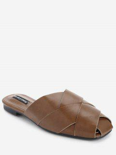 Flat Faux Leather Mules Shoes - Brown 37