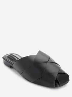 Flat Faux Leather Mules Shoes - Black 36