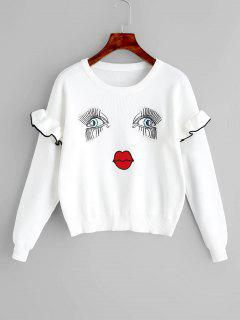Eyes And Lip Patchwork Ruffles Sweater - White