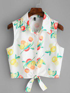 Fruit Print Tied Hem Sleeveless Shirt - White S
