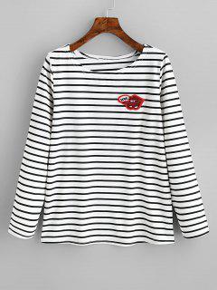 Camiseta Con Rayas Con Lentejuelas En Los Labios - Rayas Negras Xl