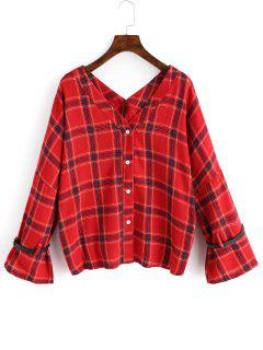 V-Ausschnitt Button Up Checked Bluse - Rot