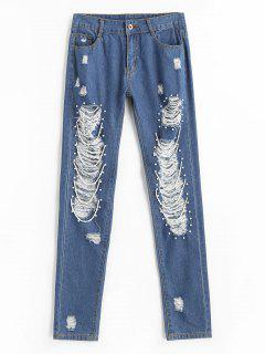 High Waist Ripped Beading Jeans - Blue M