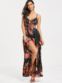 Cami Floral Criss Cross Maxi Dress - Black M