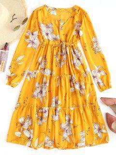 Robe Plissée à Imprimé Floral Taille Haute - Floral L