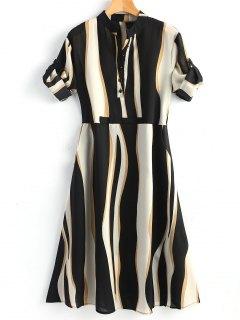 Half Buttoned Stripe Shirt Dress - Stripe Xl