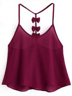 Bowknot Embellished Cami Top - Claret S