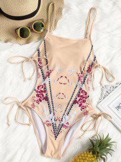 High Leg Floral Side Cut Out Swimwear - Pinkbeige S