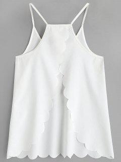 Scalloped Hem Back Slit Cami Top - White S