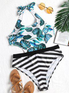 Leaf Striped Plus Size Monokini - 4xl