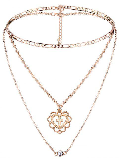 2 Stück Kreuz Muster Mehrschichtete Halskette Set - Golden  Mobile