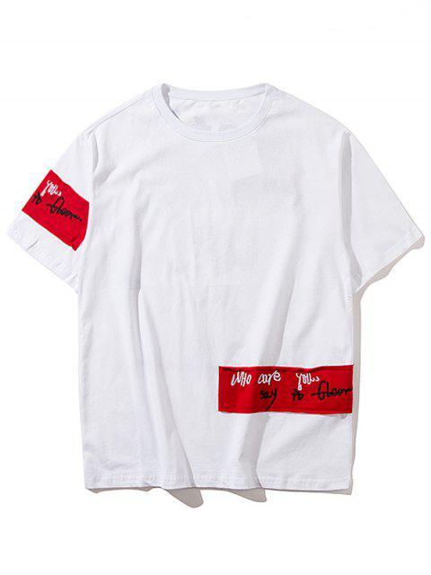 Hip Hop Geflicktes Design Rock T-Shirt - Weiß 2XL Mobile