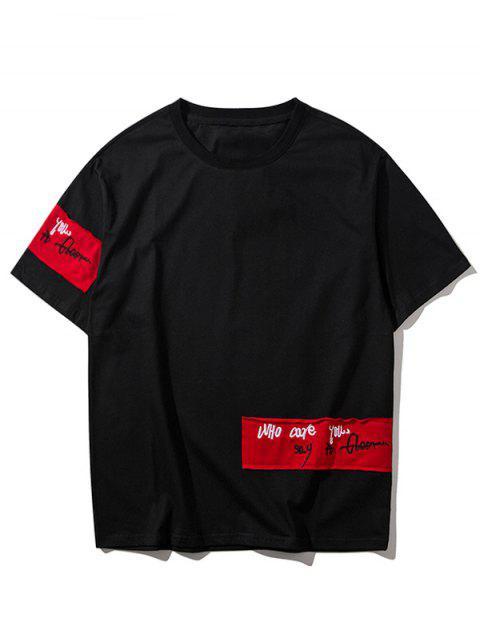T-shirt Simple à Lettre - Noir XL Mobile